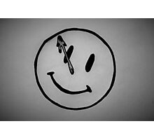 Watchmen Comedian Smiley Face Black and White Photographic Print