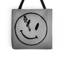 Watchmen Comedian Smiley Face Black and White Tote Bag