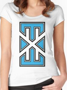 blue_white_varsity.EXE Women's Fitted Scoop T-Shirt