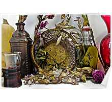 Dried flowers and bottles 1 Poster