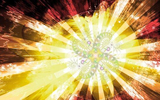 Cosmic Solar Flower Fern Flare 2 by Shawn Dall