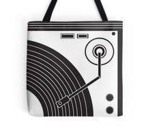 Vintage Record Player (Black & White) Tote Bag