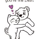 You're the Best Cat and Bear Thank You Card by misook