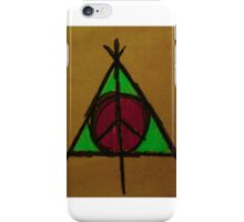 Brown, Pink and Green Deathly Hallows and Peace Drawing iPhone Case/Skin