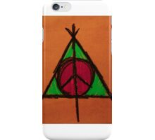 Orange and Green Deathly Hallows and Peace Drawing iPhone Case/Skin