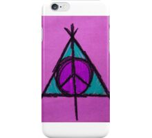 Purple and Green Deathly Hallows and Peace Drawing iPhone Case/Skin