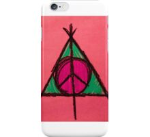 Peach and Green Deathly Hallows and Peace Drawing iPhone Case/Skin