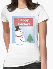 Happy Holidays Winter Snowman Womens Fitted T-Shirt