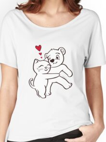 Cat Loves Bear Hug T-Shirts, Hoodies, Kids Clothes, and Stickers Women's Relaxed Fit T-Shirt
