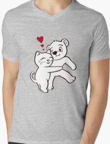 Cat Loves Bear Hug T-Shirts, Hoodies, Kids Clothes, and Stickers Mens V-Neck T-Shirt