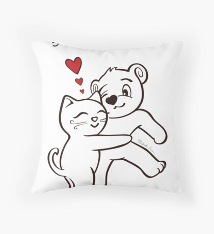 You're the Best Cat and Bear Valentine's Day Card Throw Pillow