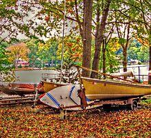 Boats At Rest, Packanack Lake, Wayne NJ USA by Jane Neill-Hancock