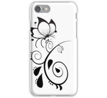 Black and White Elegant Floral Design iPhone Case/Skin
