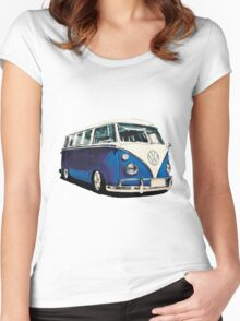VW Bus Cool Blue Women's Fitted Scoop T-Shirt