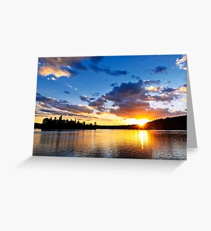 Dramatic sunset at lake Greeting Card