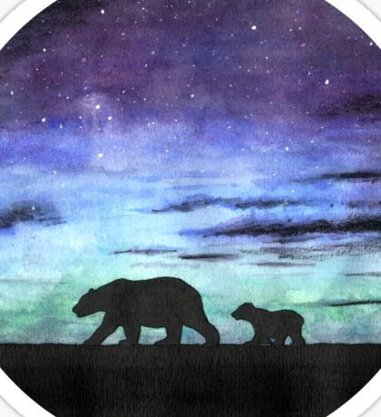 Aurora borealis and polar bears (dark version) Sticker