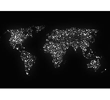 World map city light Photographic Print