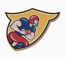 American Football Running Back Rushing Shield Cartoon T-Shirt