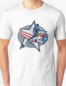 Basketball Player Fast Break Lay-Up Woodcut Unisex T-Shirt
