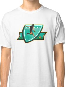 Rugby Player Kicking Ball Shield Retro Classic T-Shirt