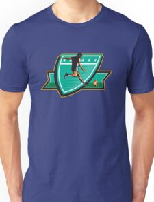 Rugby Player Kicking Ball Shield Retro Unisex T-Shirt