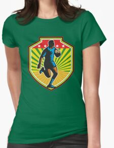 Rugby Player Running Ball Shield Retro Womens Fitted T-Shirt