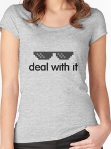 deal with it (black text) Women's Fitted Scoop T-Shirt