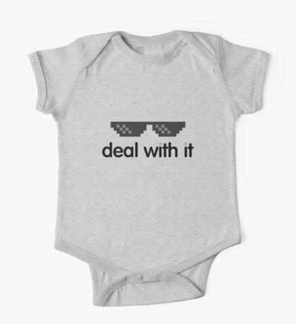 deal with it (black text) One Piece - Short Sleeve