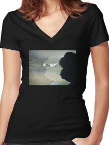 Pepe The Sad Frog Rainy Reflection Women's Fitted V-Neck T-Shirt
