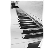 Vintage piano - black & white Poster