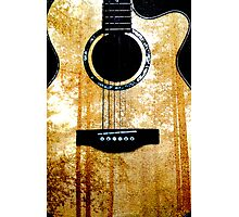 Guitar with Forest Print  Photographic Print