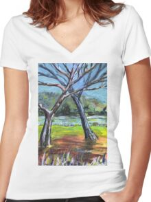 Sketching Trees Women's Fitted V-Neck T-Shirt