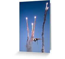 Israeli Air force F-15I Fighter in flight Emitting anti-missile flares Greeting Card