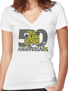 5OTH ANNIVERSARY GREAT ALASKA EARTHQUAKE W DIPPER Women's Fitted V-Neck T-Shirt