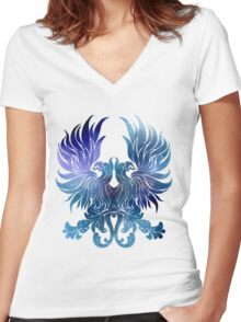 Gray Warden glaxy crest Women's Fitted V-Neck T-Shirt