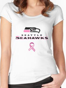 Seattle Seahawks Breast Cancer Shirt Women's Fitted Scoop T-Shirt