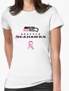 Seattle Seahawks Breast Cancer Shirt Womens Fitted T-Shirt