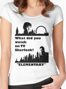 Sherlock meets Elementary  Women's Fitted Scoop T-Shirt