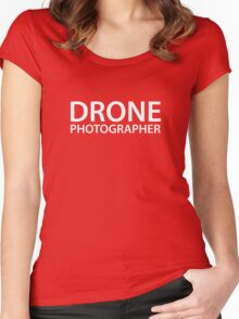 Drone Photographer - White Text - Block Women's Fitted Scoop T-Shirt