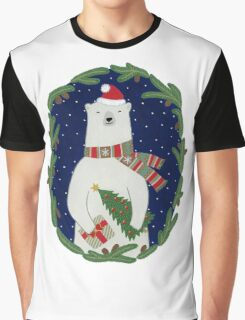 Polar bear with Christmas tree Graphic T-Shirt