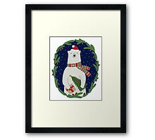 Polar bear with Christmas tree Framed Print