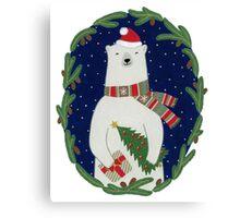 Polar bear with Christmas tree Canvas Print