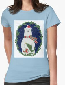 Polar bear with Christmas tree Womens Fitted T-Shirt