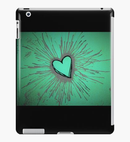 Purple and Green Exploding Heart iPad Case/Skin