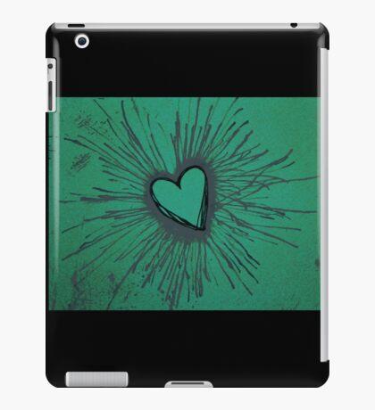 Exploding Heart Green and Gray iPad Case/Skin