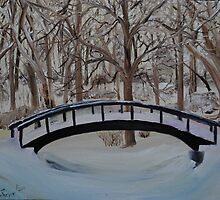 Snow Covered Bridge in the Woods by towncrier