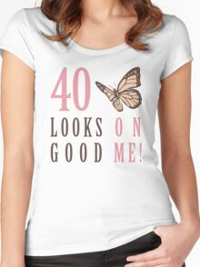 Cute 40th Birthday T-Shirt For Women Women's Fitted Scoop T-Shirt