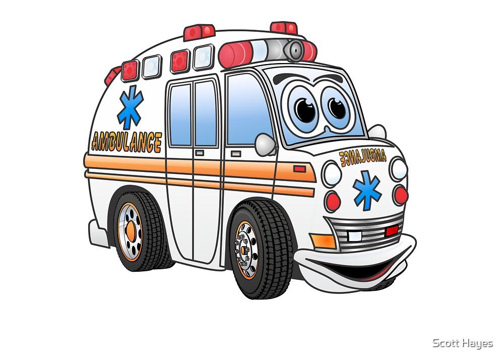 Quot Cartoon Ambulance Quot By Graphxpro Redbubble