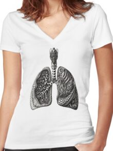 psychedelic lungs Women's Fitted V-Neck T-Shirt