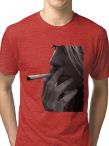 blond girl smoking weed Tri-blend T-Shirt
